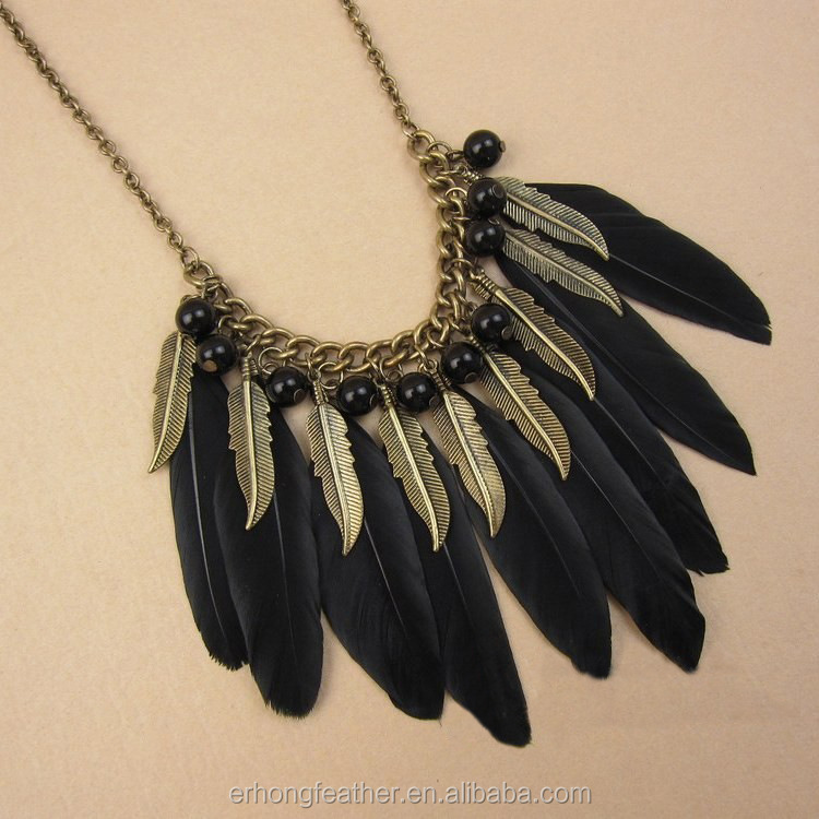 2017 American original single sweater accessories hot sale fashion feather necklace