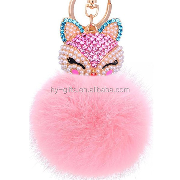 hot animal heard design pom keychain accessories pom keychain