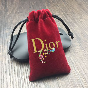 Small custom red velvet jewelry pouch drawstring bag with logo