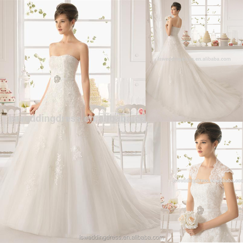 WD9221 Hot selling with low price strapless white lace appliques ball gown comely bridal dress prom ball gown dresses