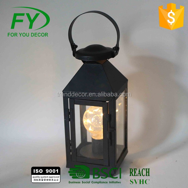 Top With Solar Panel Outdoor Garden Decoration Metal Camping Led Lantern, Portable Outdoor Led Camping Lantern