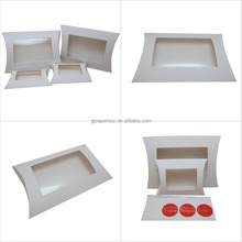 clear PVC window white cardboard pillow shaped food packaging paper box
