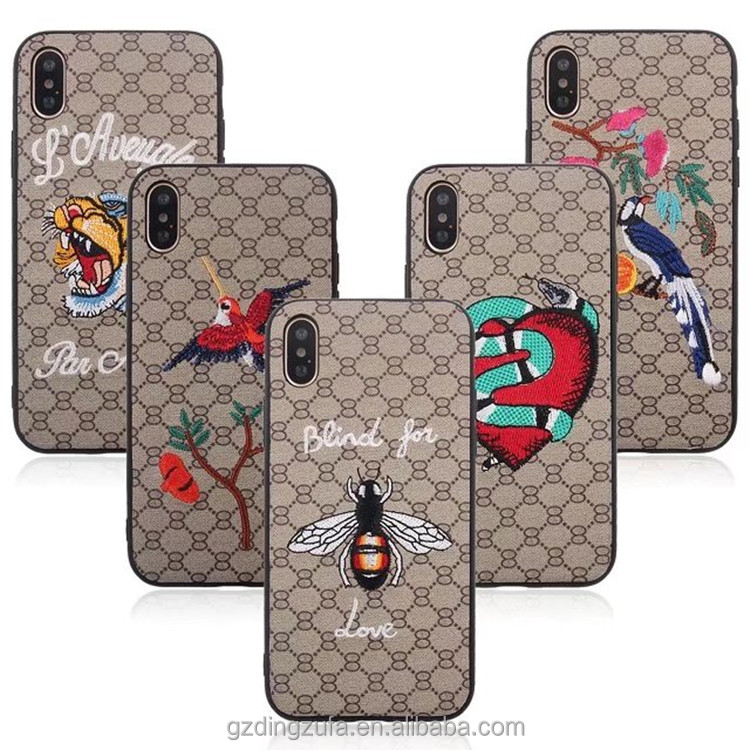 Phone Cover Wholesale Ultra Thin Good Make Embroidery Phone Case for <strong>iPhone</strong> X Case Luxury