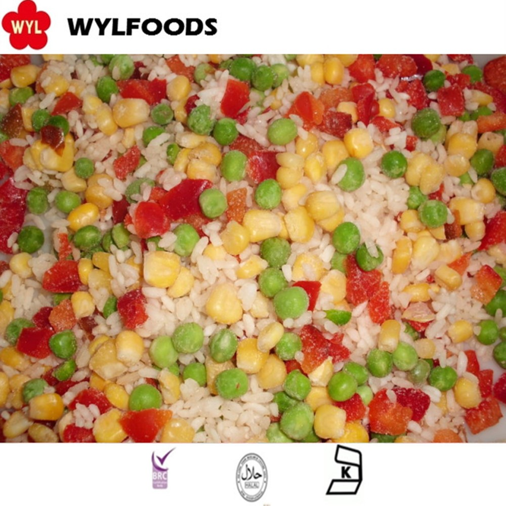 frozen IQF Hawaii mixed vegetable with Rices 40%, Green peas 30%, Sweet corn kernels 20%, sweet red peper dices 10%