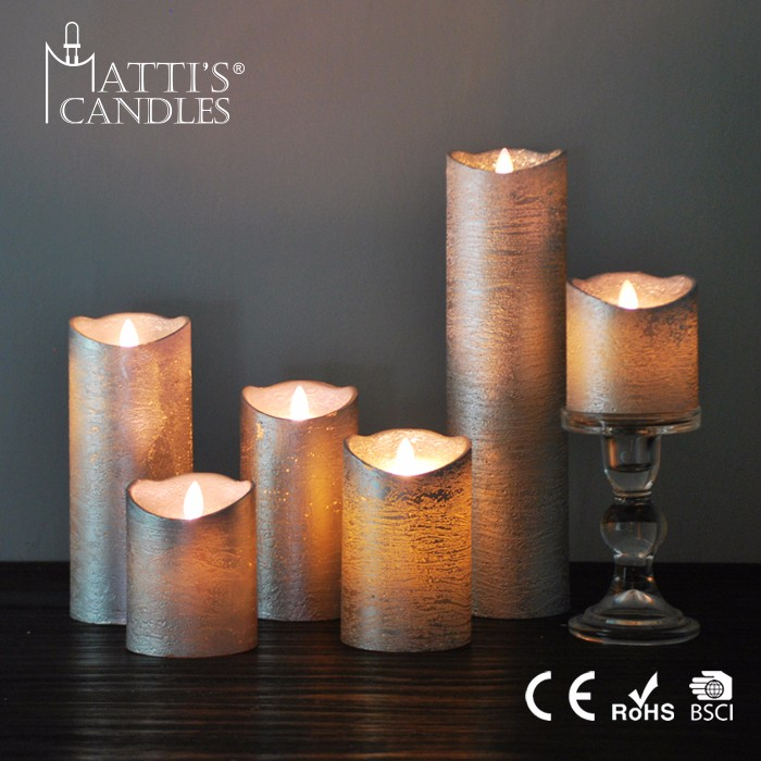 Matti's Good Looking Silver Shell Making Candle/Magic Candle/Flameless Moving Wick Led Candle