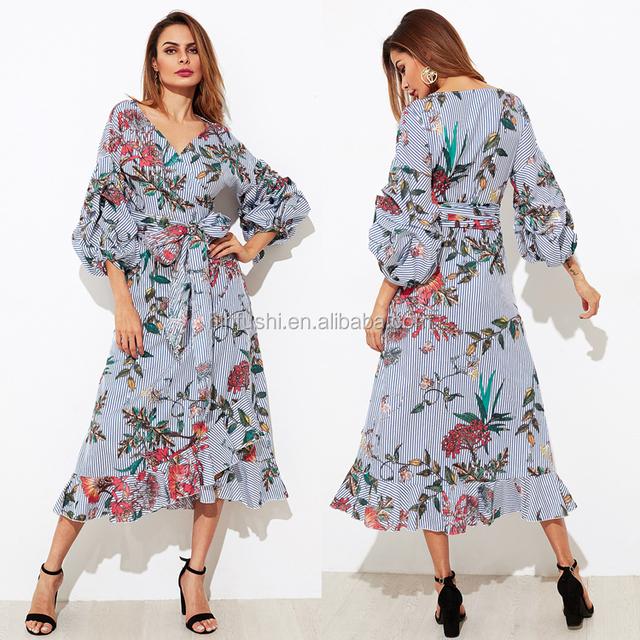 guangzhou hot sales maxi long sleeve bow -tie dress sexy wrap elegant boho floral dress
