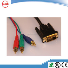Factory direct sell DVI to 3 RCA/BNC Component RGB Cable Adapter for HDTV