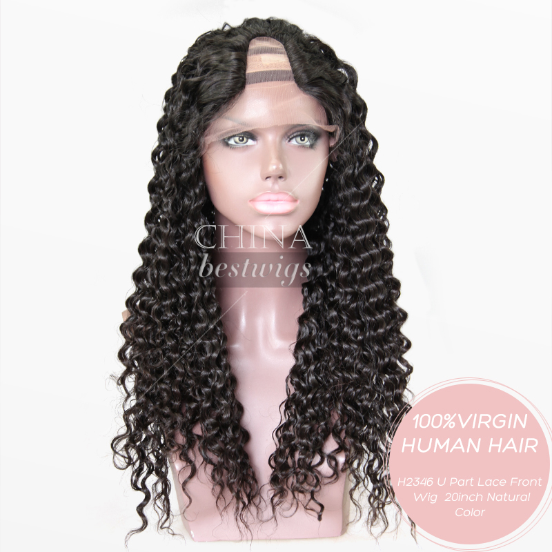 Wholesale Cheap 100% Virgin Human Hair Lace Front Wig Blonde U Part Wig