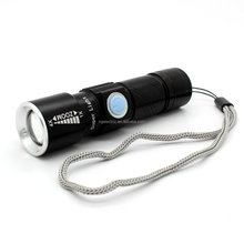 USB Rechargeable Flashlight Adjustable Focus Zoom Aluminum Alloy Portable Rechargeable Light