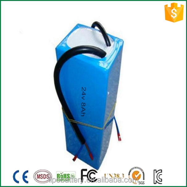 Rechargeable 24v 8ah li ion battery packs 18650 for scooters