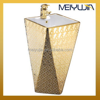 Bathroom one piece pedestal basin cermiac golden colored sink