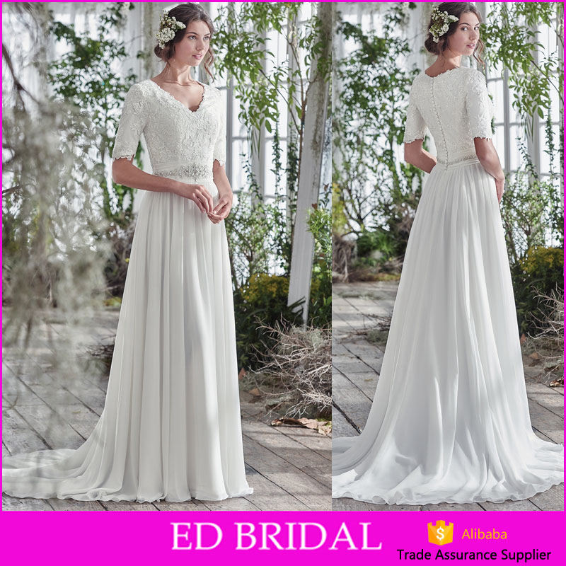 LN241 Affordable price elegant lace bodice fully lining half sleeves modest chiffon wedding dress