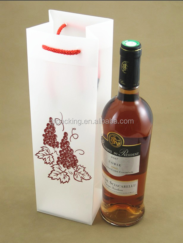 Wholesale custom PP plastic wine tote cooler packaging bag with handle