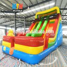 HTH 16' high inflatable dip slide with red yellow blue colour inflatable wet n dry slide