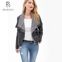 Hot Sale Cutom Cool Faux Leather Jackets Long Sleeve for Ladies M6192