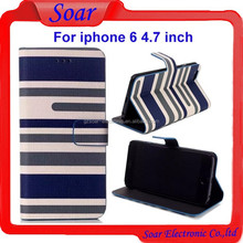 Vintage Style wallet leather case for iphone 6 4.7 inch,stripes design pouch case for iphone 6 4.7 inch