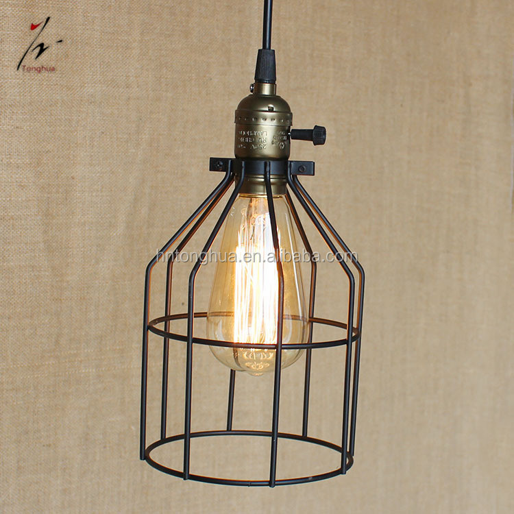 Retro Simple Iron Pendant Light E27 Holder Lamp Cage For Home Decoration Lighting