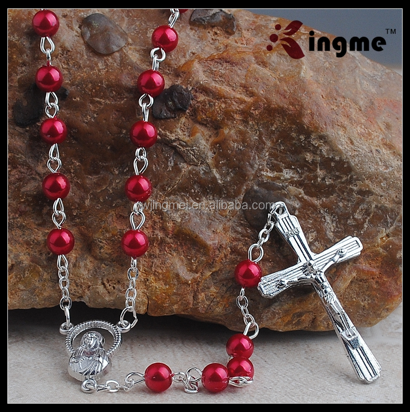 Handmade various color plastic rosary,pearl catholic necklace,cross necklace
