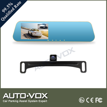 "Auto-vox 4.3"" hd 1080p dual camera rearview mirror car camcorder"