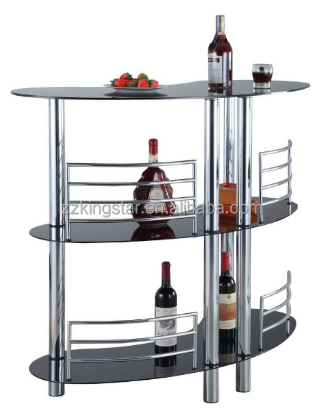 3 layer tempered glass contemporary curved bar table with metal standing