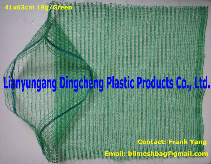 green 50x80 plastic knitted raschel bag