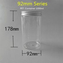 1000ml Plastic Gallon Containers Clear With 92mm Series Aluminum Screw Cap