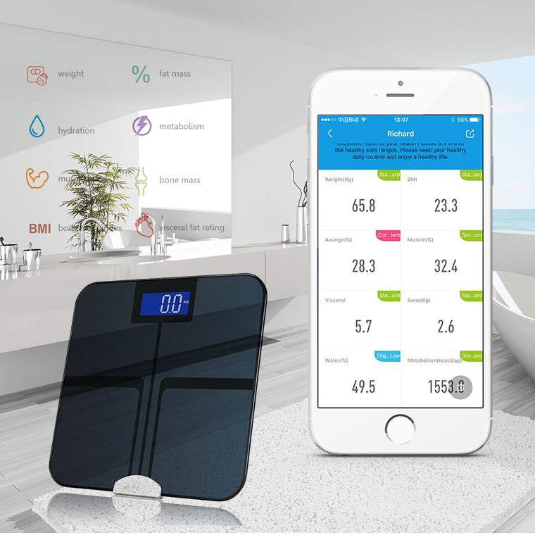 High Recommended Smart Bluetooth 180kg/400lb Free APP Body Fat Weighing Bathroom Scale