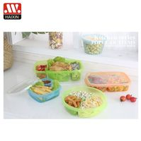 PP 3 compartment takeaway 800ML tiffin box mini food snack meal prep containers plastic