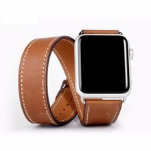 Double Tour Band Smart Watch Leather Watch Band for Apple watch Band 38 42mm--Brown