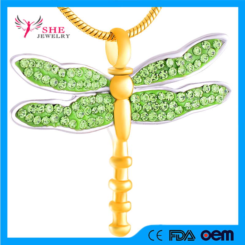 Crystal Wing Dragonfly Cremation Urn Pendant Hold Pet Ashes Keepsake Memorial Jewelry