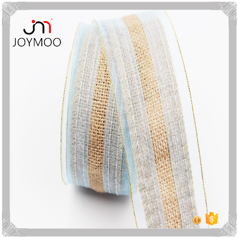 China Supplier Wholesale Decorative Jute Burlap Ribbon 5.3cm Rustic Burlap Fabric Roll Adhesive Organza Edges Burlap Jute Ribbon