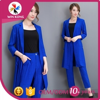 Summer cotton linen ladies two pieces short sleeve blazer and middle pants set women office business suit