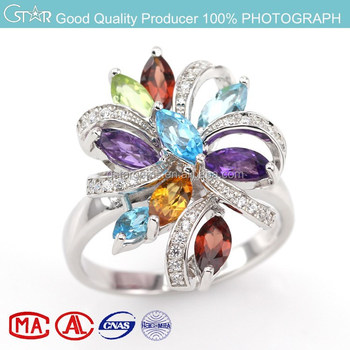 stock Classical 925 Sterling Silver Promotional Ring with mix natural stone