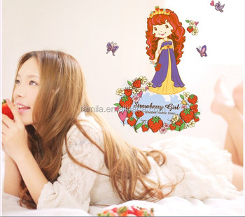 Removable wall stickers for kids room home decorative cartoon cute strawberry girl princess wallpaper