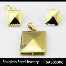 SAS505306 Stainless steel 18k gold plated Square pendant with earrings unique jewelry