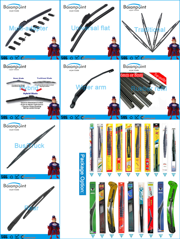 Wholesale One-piece Multi-fit Flat Wiper Blade Aero Wiper Blades