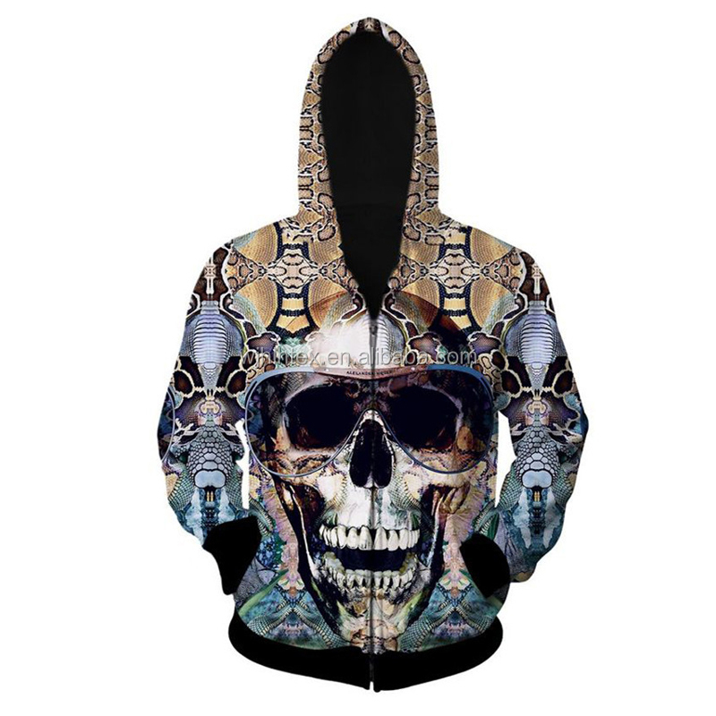 Fashion Men Casual Clothing Skull Pattern 3D Hoodies with zipper