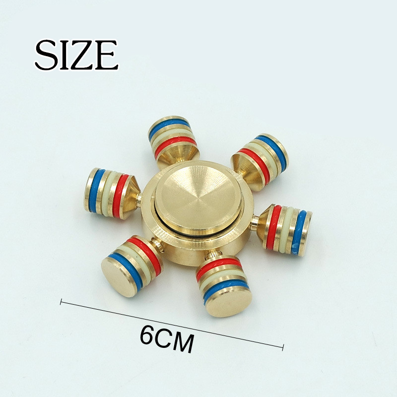 Wholesale Removable Gyroscope Fingertips Spiral 6 Horn Luminous Metal Hand Spinner Gyro Finger Gyroscopes For Relieve Anxiety