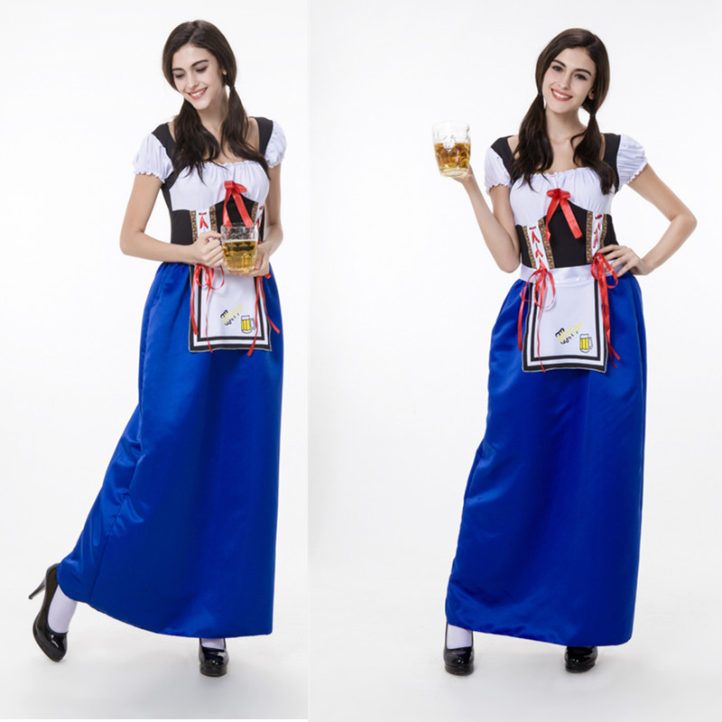 2015 New Womens Lingerie Blue Exotic Oktoberfest Costumes Disfraces Halloween Adult Sexy Germany Beer Girl Maid Long Dress A56