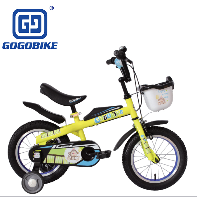 Cheap steel 14 inch kid's bike with foldable training wheel