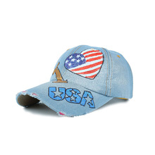Wholesale LOVE USA Flag Painting Baseball Caps Cheap Hats Hand Painted Caps