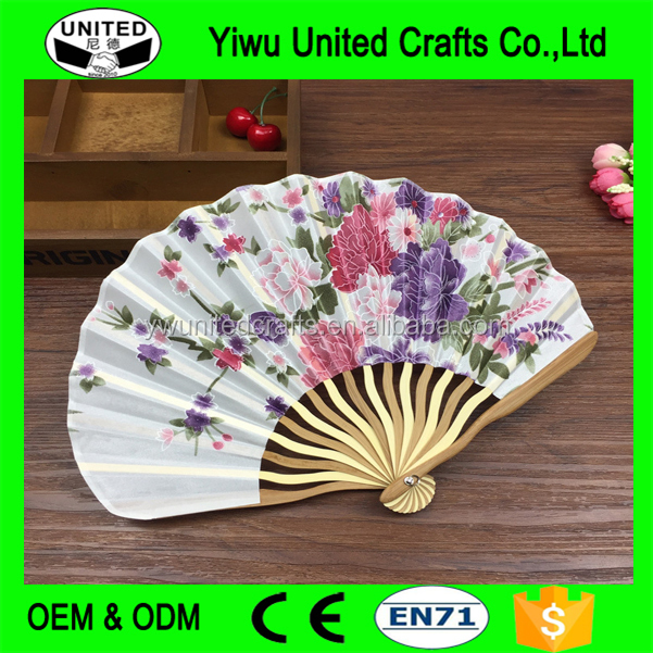 Custom Printed Folding Hand Fan with Bamboo Frame