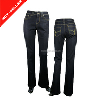 (#TG4044W ) 2014 china wholesale manufacturing ripped flare embroidery design black jeans for women