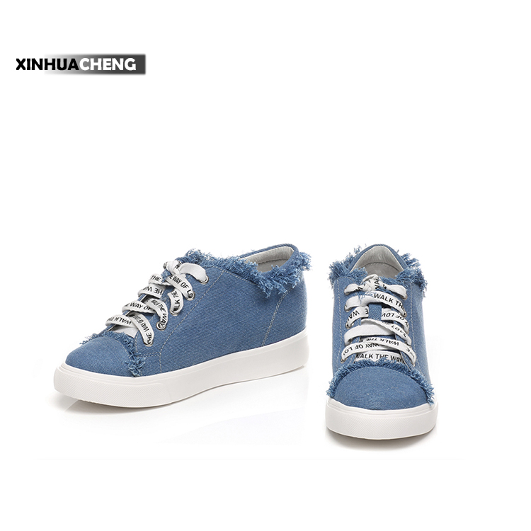 casual flat blue canvas round-toe shoes for woman