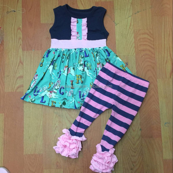 baby letter and horse peculiar pattern sleeve skirt scarlet ruffle pink and navy bule stripe pants
