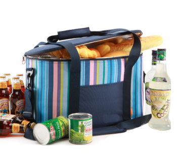 Large capacity custom printed stripe waterproof thermal food delivery cooler bag for travel