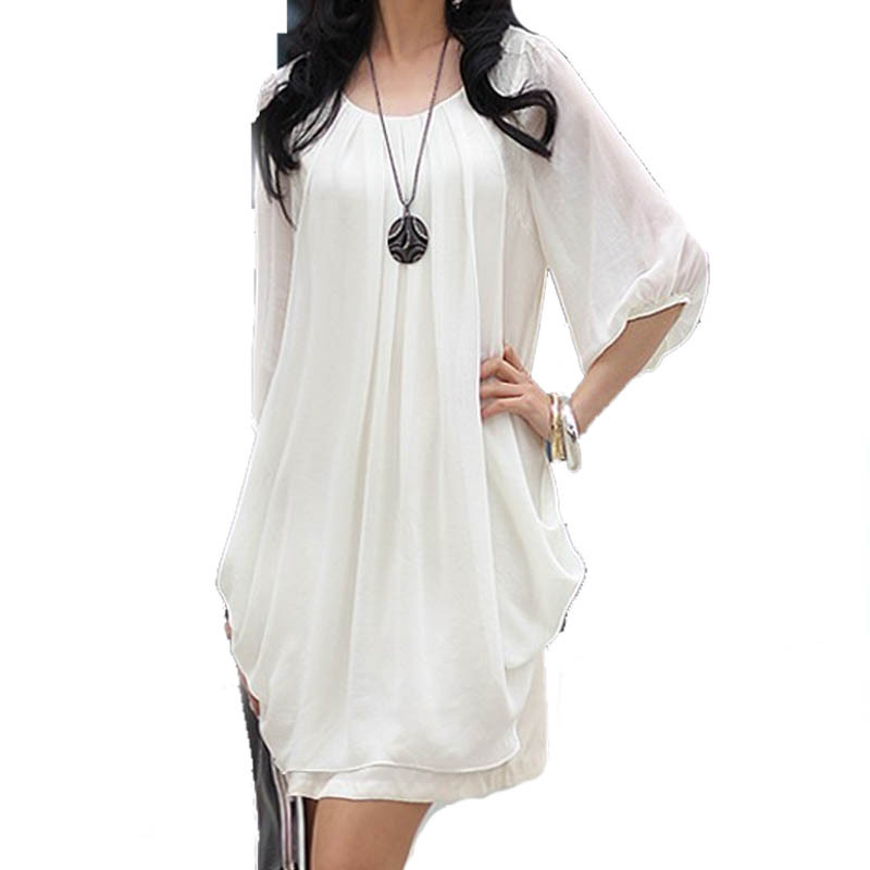 New Arrivals 2015 Fall Summer Plus Size Clothing Chiffon Scoop Neck 3/4 Sleeves Fairy Style Solid Color Mini Dress 4XL For Women
