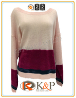 High quality knitted FW stylish 7 gg rose cashmere printing round neck Ladies Sweater