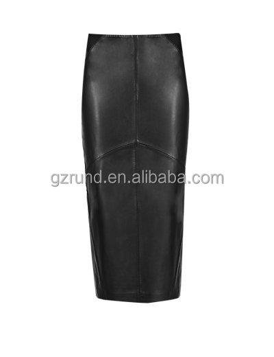 2016 A/W Women's Leather Pencil Skirt