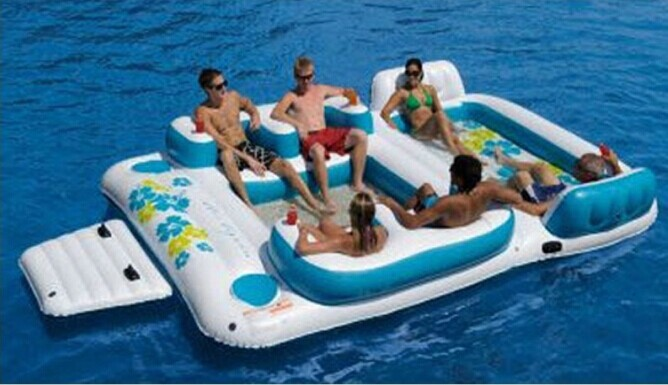 2015 hot Inflatable Island Float lounge with canopy , Adults water entertainment